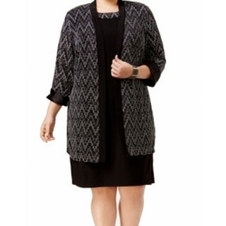 R&M Richards NEW Black Womens Size 14W Shimmer Chevron Cardigan Jacket