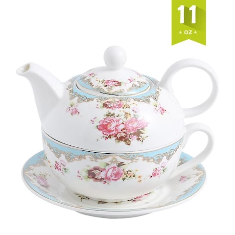 MALACASA, Series Sweet.Time, Porcelain Tea for One Set 11Oz Teapot Teacup and Saucer Set - 6.5