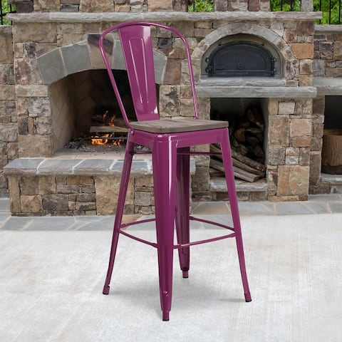 """30"""" High Metal Barstool with Back and Wood Seat - 18""""W x 19""""D x 46""""H"""