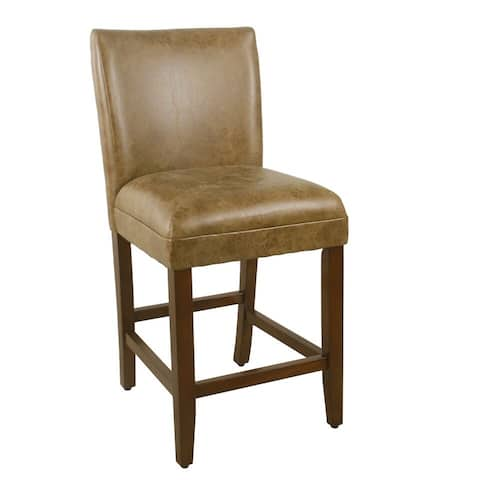 """HomePop 24"""" luxury faux leather barstool - Distressed Brown Faux Leather - 24 inches - 24 inches"""