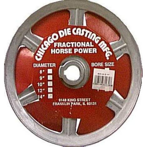 """Chicago Die Casting 800A6 Single V Grooved Pulley, 8"""" x 5/8"""""""