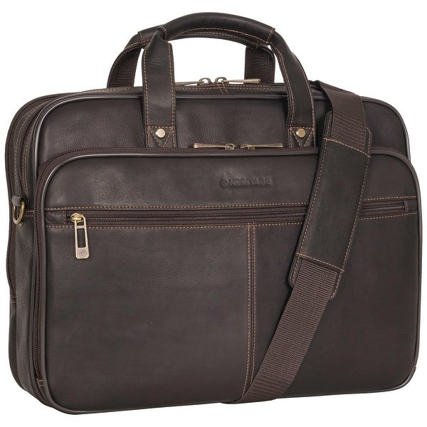 Heritage Travelware 16-inch Laptop & Tablet Full-Grain Colombian Leather Portfolio Dual Compartment Business Briefcase. Opens flyout.