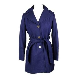Michael Kors Navy Wool-Blend Hooded Walker Coat PS