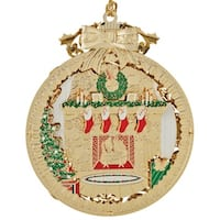 """3.25"""" 24K Gold Decorated Fireplace Christmas Ornament"""