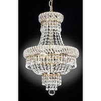 "Harrison Lane J2-1023 3 Light 15"" Wide Single Tier Crystal Chandelier with Gold Accents"