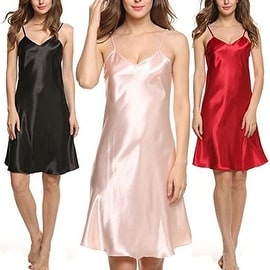 Women Sexy Lingerie Nightwear Nightgown Babydoll Satin Lace Dress Robe Sleepwear