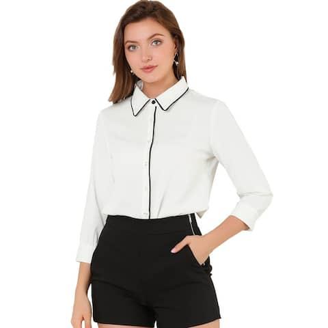 Allegra K Women's Work Elegant Tie Neck Blouse Button-Up Shirt