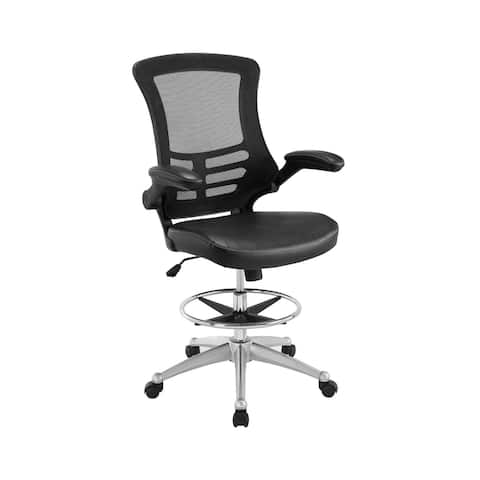 """Vinyl Drafting Chair - Drafting Stool With Flip-Up Arm in Black - 26.5"""" x 44-51.5"""""""