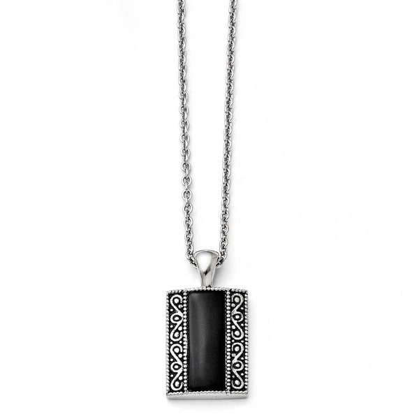 Chisel Stainless Steel Black Onyx Antiqued Rectangular Necklace (2 mm) - 20 in