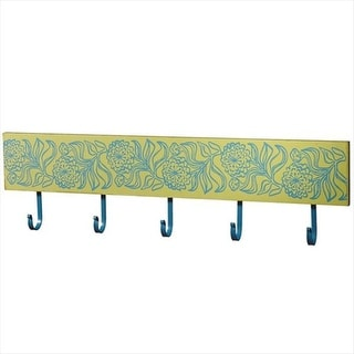Pack of 2 Teal Blue and Goldenrod Yellow Floral Decorative Wall Hook 30""