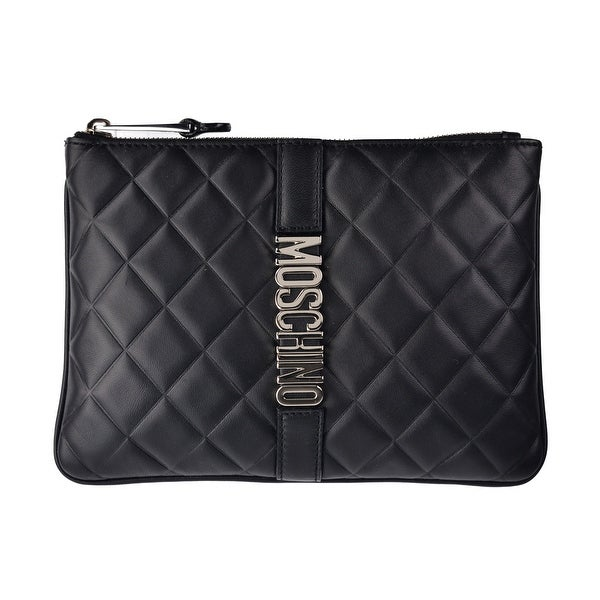 Moschino Women's Black Leather Quilted Logo Plague Zip Clutch Bag~RTL$995