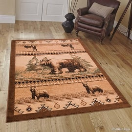 """Brown Bear Wildlife Animal Print Forest Outdoor Area Rug (3' 9"""" x 5' 1"""")"""