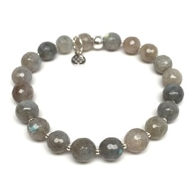 Grey Labradorite 'Eve' Stretch Bracelet, Sterling Silver
