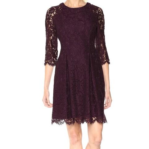 Vince Camuto Purple Women's Size 12 Floral Lace Sheath Dress