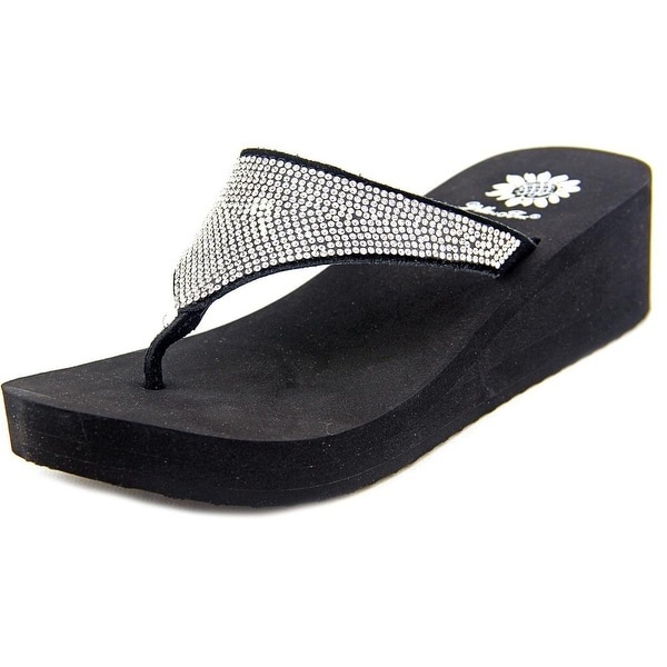 Yellow Box Aeon Women  Open Toe Synthetic Black Wedge Sandal