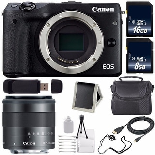 Canon EOS M3 Mark III 24.2 Mp Mirrorless Camera (International Model)(Black) + EF-M 18-55mm Lens Saver Bundle