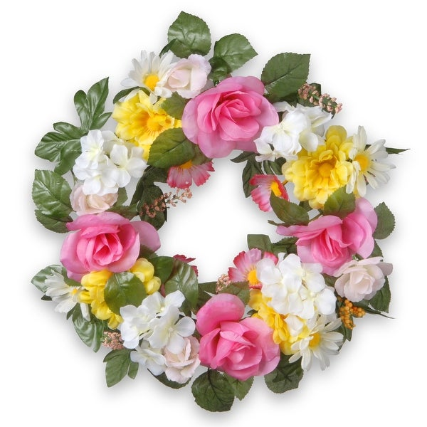 Daisy and Rose Artificial Wreath - 18-Inch, Unlit - N/A