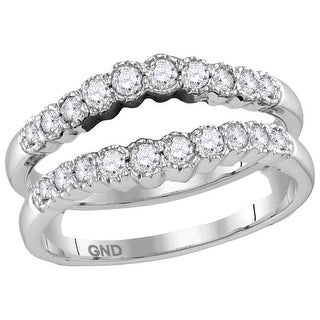 14kt White Gold Womens Round Natural Diamond Ring Guard Wrap Solitaire Enhancer 1/2 Cttw