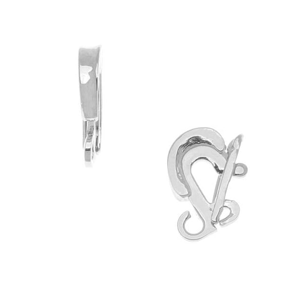 Rhodium Plated Clasp Bail For Hanging Pendants 15x3mm (1)