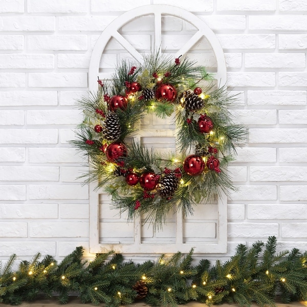 """Glitzhome 24"""" LED Pre-Lit Greenery Berry Holly Pine Cone Ornament Wreath. Opens flyout."""