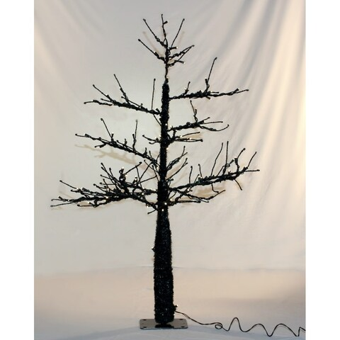 Christmas at Winterland WL-DTR-4.5-BK-LWW Halloween 4.5 Foot Tall Black Spooky LED Lit Tree - black/winter white - N/A