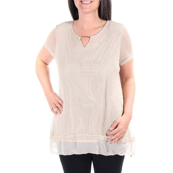 JM Collection Womens Beaded Keyhole Top, Polished Nude
