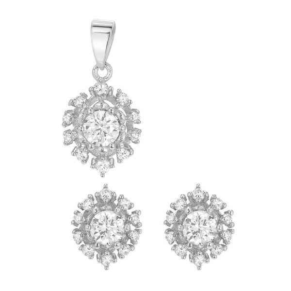 Mcs Jewelry Inc  STERLING SILVER 925 HALO SETTING EARRING AND PENDANT SET WITH CUBIC ZIRCONIA
