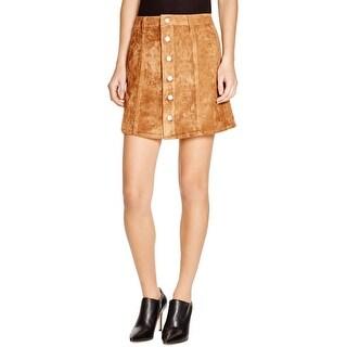 Olivaceous Womens A-Line Skirt Faux Suede Button Front