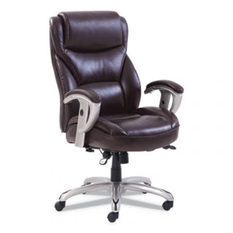 Emerson Big And Tall Task Chair, Supports Up To 400 Lbs., Brown Seat/Brown Back, Silver Base