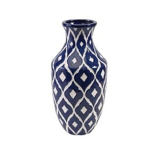 IMAX Home 89694 Maine Blue and White Tall Vase