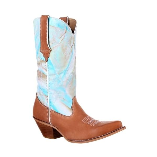 "Durango Western Boots Womens Crush Fancy Stitch 12"" Tan Turq"