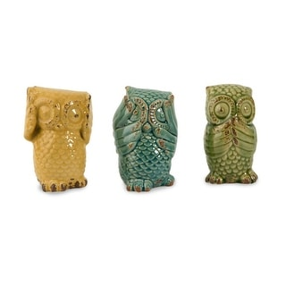 """Set of 3 Colorful Hear, See and Speak No Evil Rustic Ceramic Owl Figurines 6.5"""""""