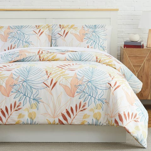 Tropic Leaf Duvet Cover and Sham Set