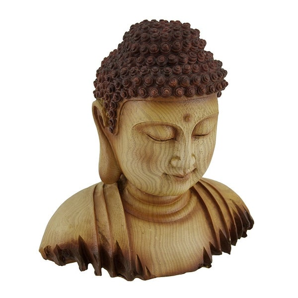 Meditating Buddha Head Decorative Faux Carved Wood Look Statue - 8.5 X 8 X 5.5 inches