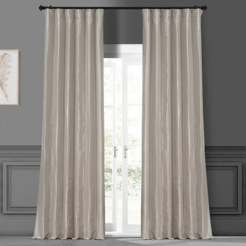 Exclusive Fabrics Solid Faux Silk Taffeta Antique Beige Curtain Panel