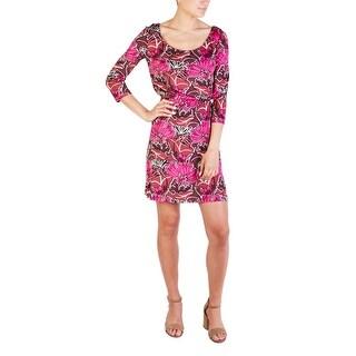Prada Women's Silk Floral Print Dress Pink