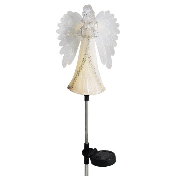 Shop 29 3 Quot White And Clear Glittered Solar Powered Praying