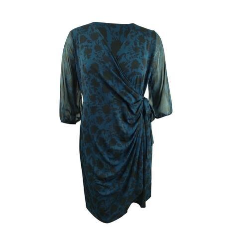 INC Womens Plus Size Shadow-Floral Wrap Dress