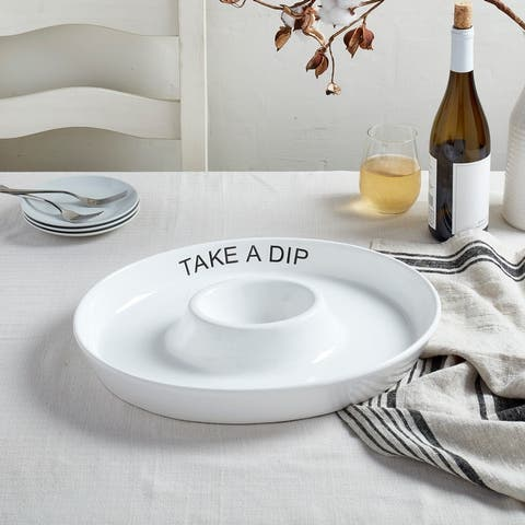 """Tabletops Gallery 16.5"""" Oval Chip&Dip """"Take A Dip"""" Platter"""