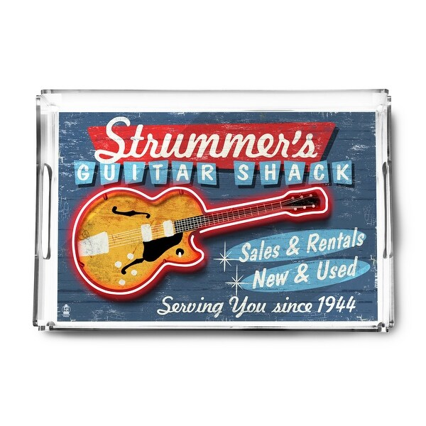 Guitar Shop - Vintage Sign - Lantern Press Artwork (Acrylic Serving Tray)