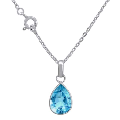 Blue Topaz Sterling Silver Pear Short Pendant by Orchid Jewelry