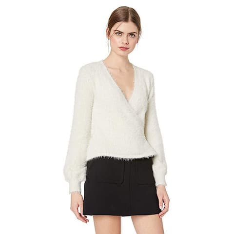 Cupcakes and Cashmere Gigi Fluffy Wrap Sweater W/Slouchy Sleeves, Oatmeal, X-Small