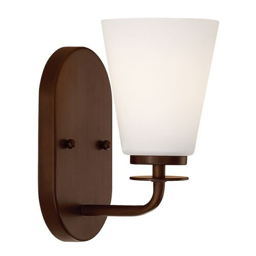 """Millennium Lighting 391 Single Light 9"""" Tall Bathroom Sconce with Tapered Etched Glass Shade"""