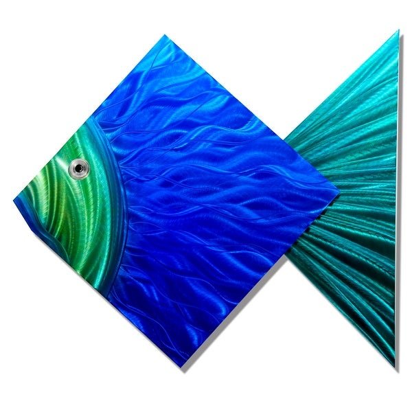 Statements2000 Large Blue / Green Tropical Fish Metal Wall Art Accent by Jon Allen - Big Blue Fish