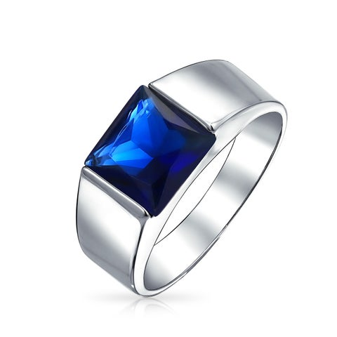 Bling Jewelry Imitation Sapphire Engagement Ring for Men Rhodium Plated Brass