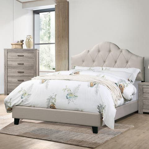 Fabric Upholstered Bed with Arch Back