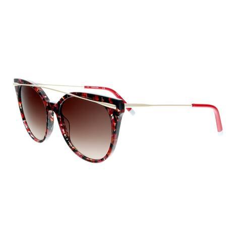 Calvin Klein CK4362S 617 Red Marble Round Sunglasses - 54-17-140