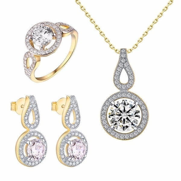 Womens Solitaire Ring Sterling Silver Tear Drop Pendant Earrings Chain Gold Tone