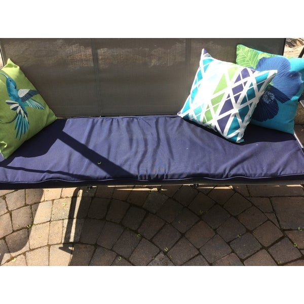 """Charcoal Quilted Diamond Outdoor Garden Bench Cushion Seat Pad 55/"""" x 18/"""""""