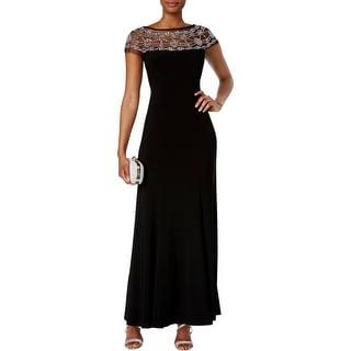 R&M Richards Womens Evening Dress Beaded Black Tie